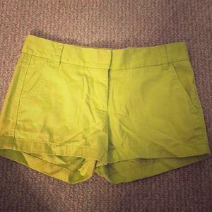 j.crew lime chino shorts